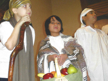 Students performing a skit at Chapel